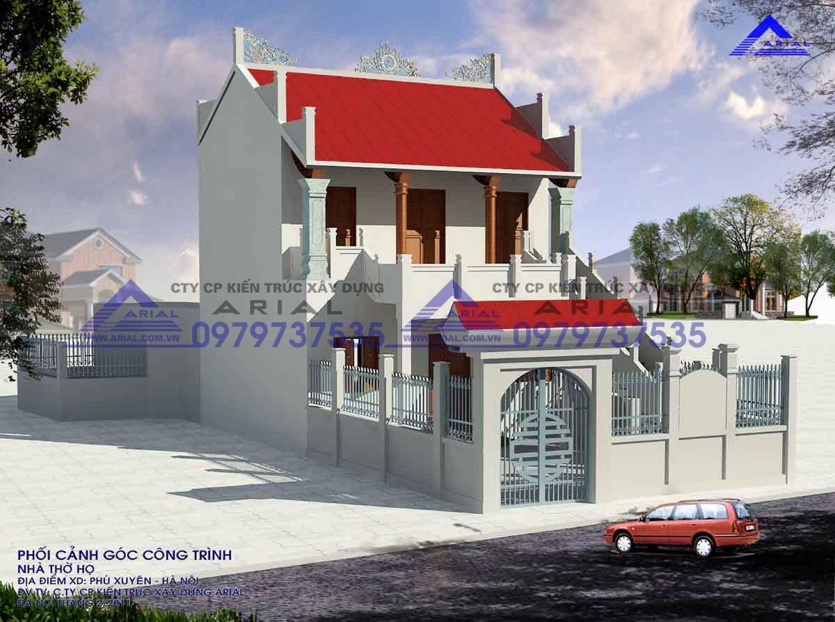 Mẫu Số 11: Nhà Thờ 2 Tầng 2 Mái Cầu Thang Bên Ngoài Cđt A Dũng Phú Xuyên- Hà Nội