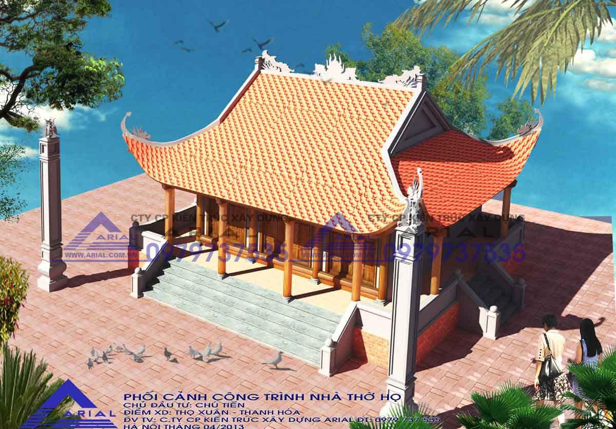 Mẫu Số 14: Nhà Thờ 4 Mái đao 3 Hiên Có Cột Lửa Cđt Chú Tiến ở Thọ Xuân Thanh Hóa