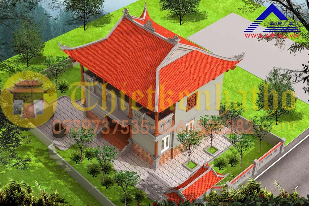 Mẫu Số 27: Nhà Thờ 2 Tầng 4 Mái Cầu Thang Bên Trong 1 Hiên Trước Cđt A Hùng – Diễn Châu Nghệ An